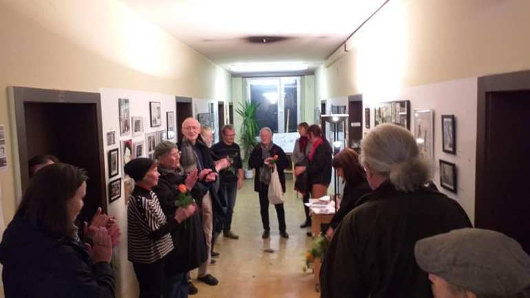 Opening of the exhibition, Zeichnung Chr. Badel (Photo by Lars Schumacher)